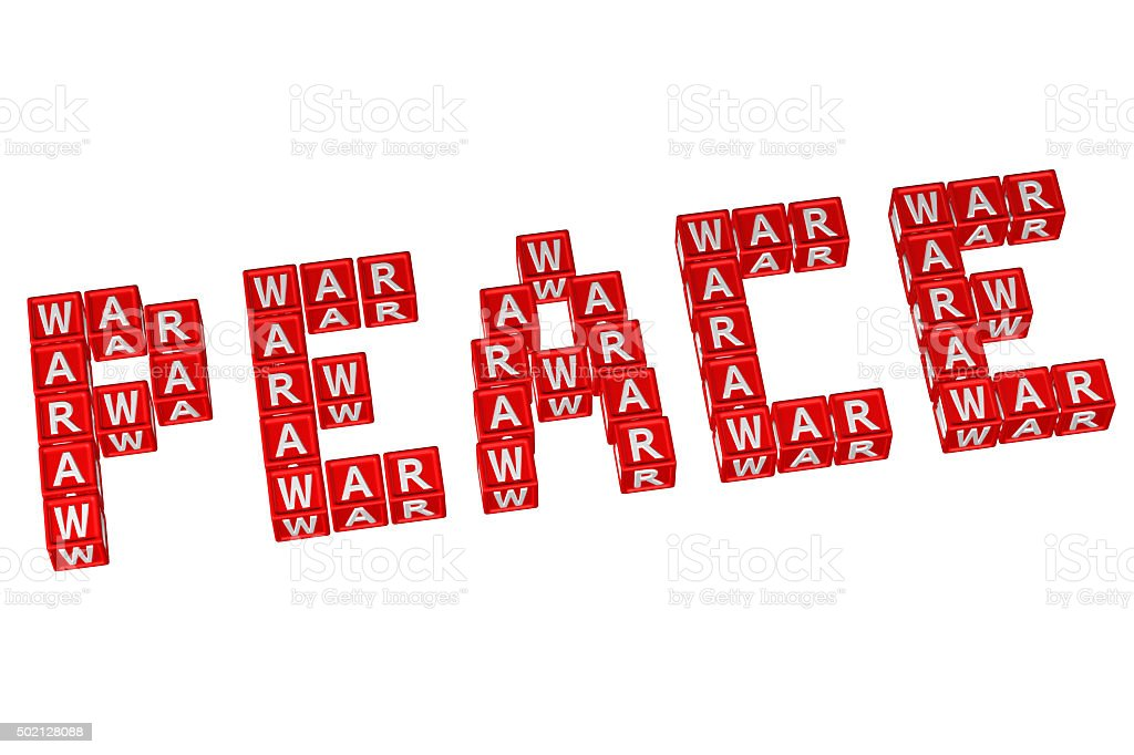 Word Peace written with blocks with letters W,A,R stock photo