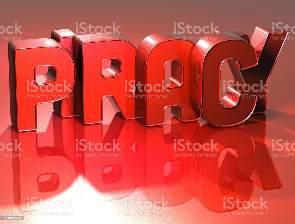 3D Word Piracy on red background royalty-free stock photo
