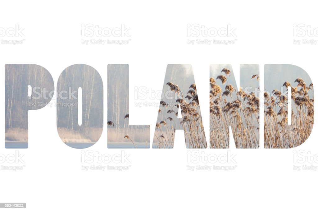 Word POLAND at winter time. stock photo