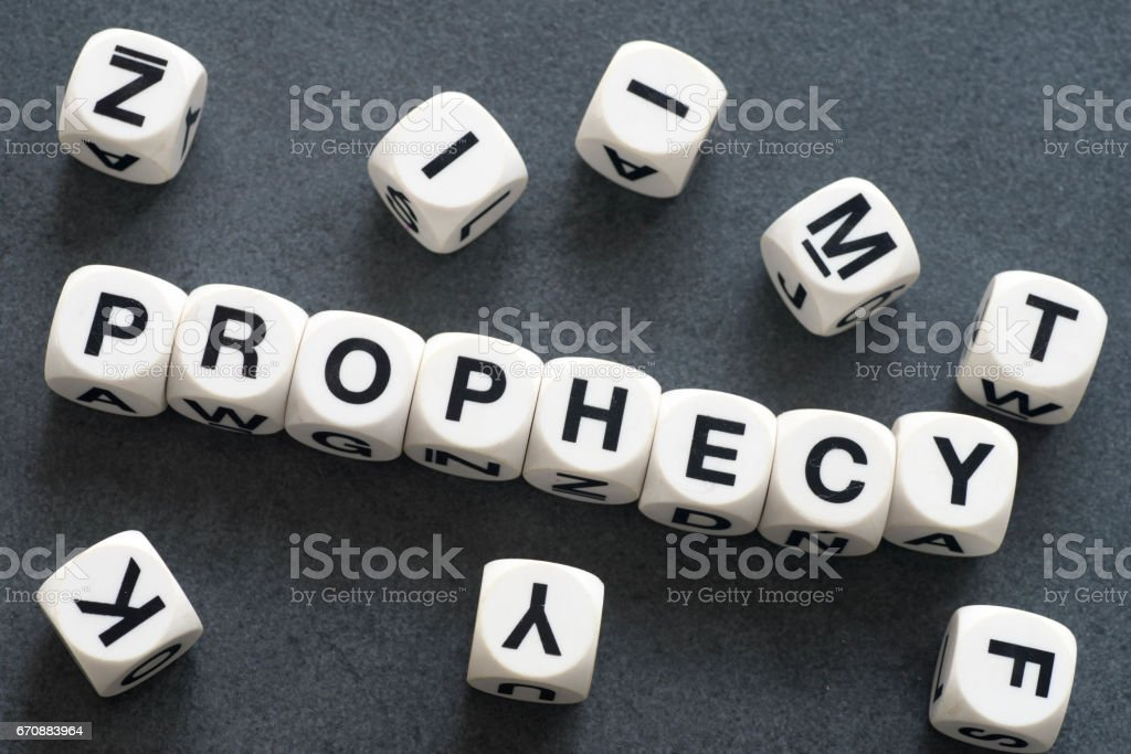 word prophecy on toy cubes stock photo
