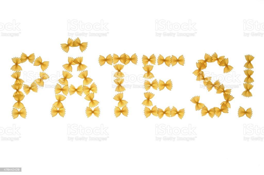 Word pâtes written with farfalle royalty-free stock photo