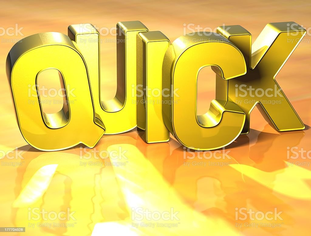 3D Word Quick on yellow background royalty-free stock photo
