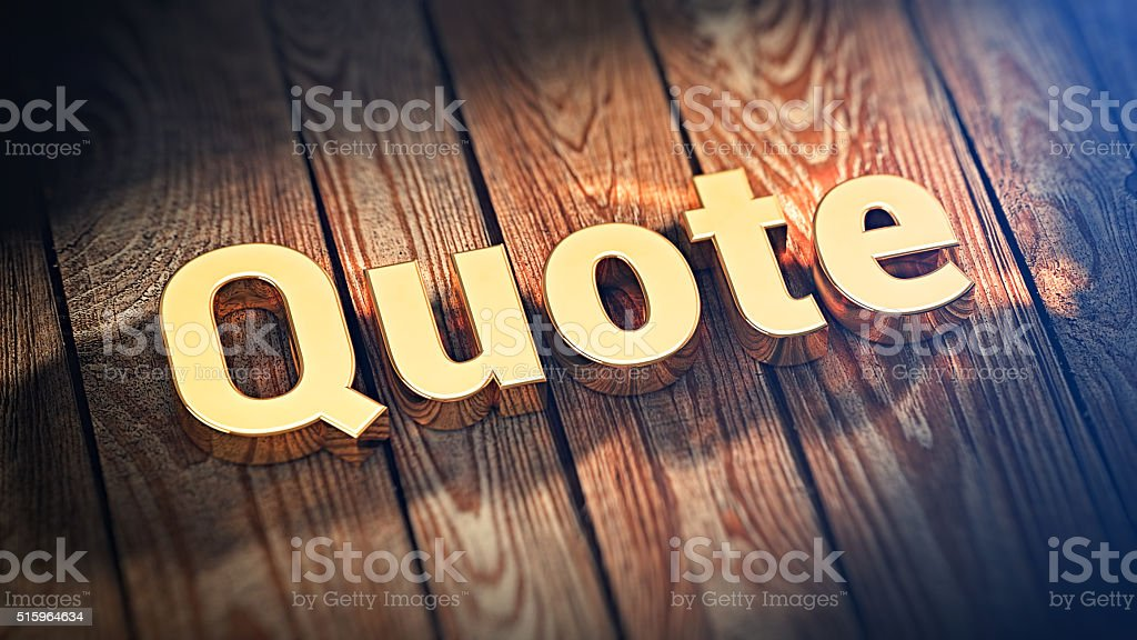 Word Quote on wood planks stock photo