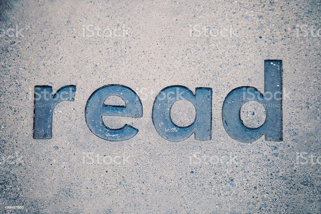 Word Read Engraved in Granite stock photo