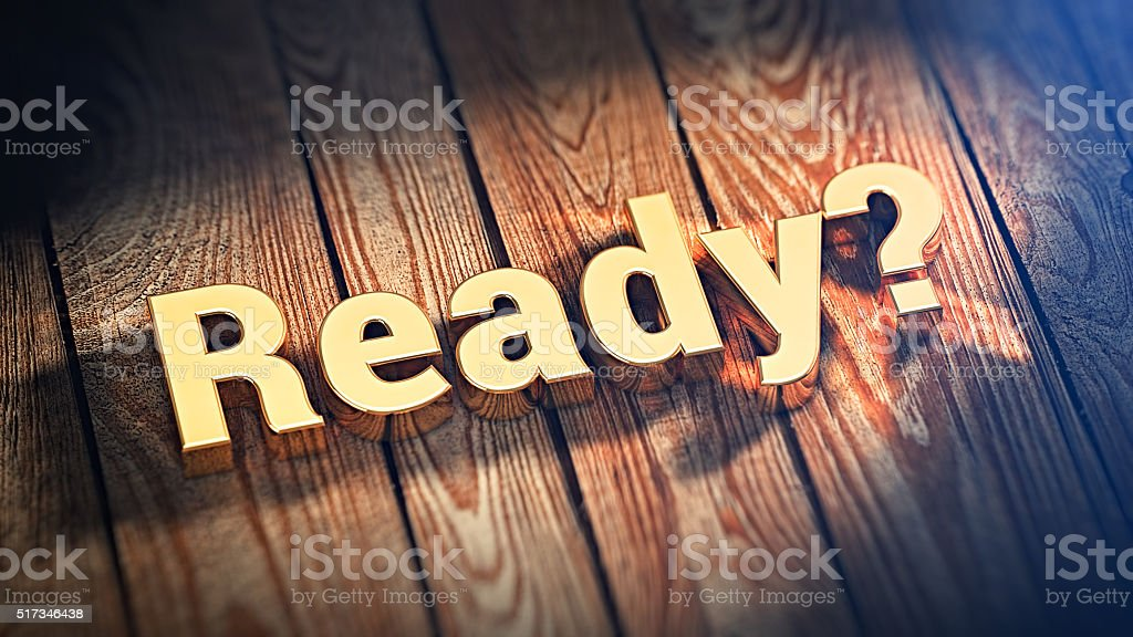 Word Ready on wood planks stock photo