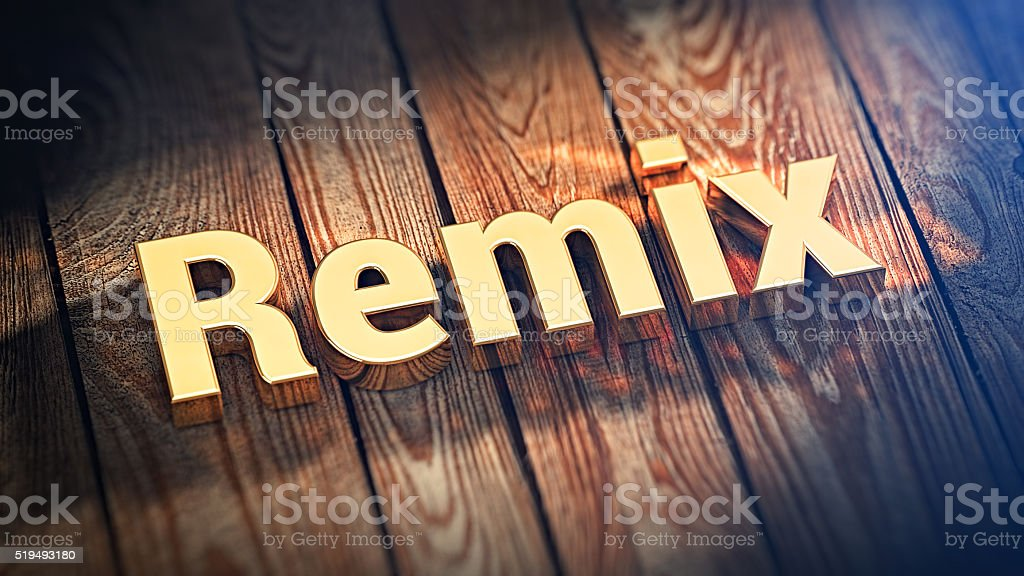Word Remix on wood planks stock photo