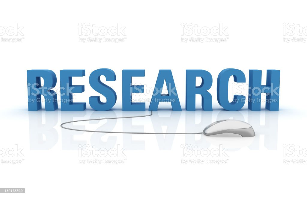 3D Word Research with Computer Mouse royalty-free stock photo