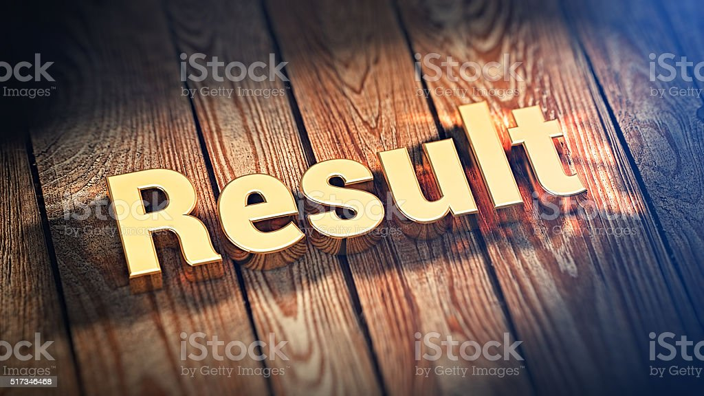 Word Result on wood planks stock photo
