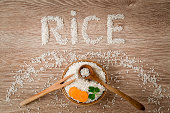 Word rice created from rice. Healthy eating and lifestyle.