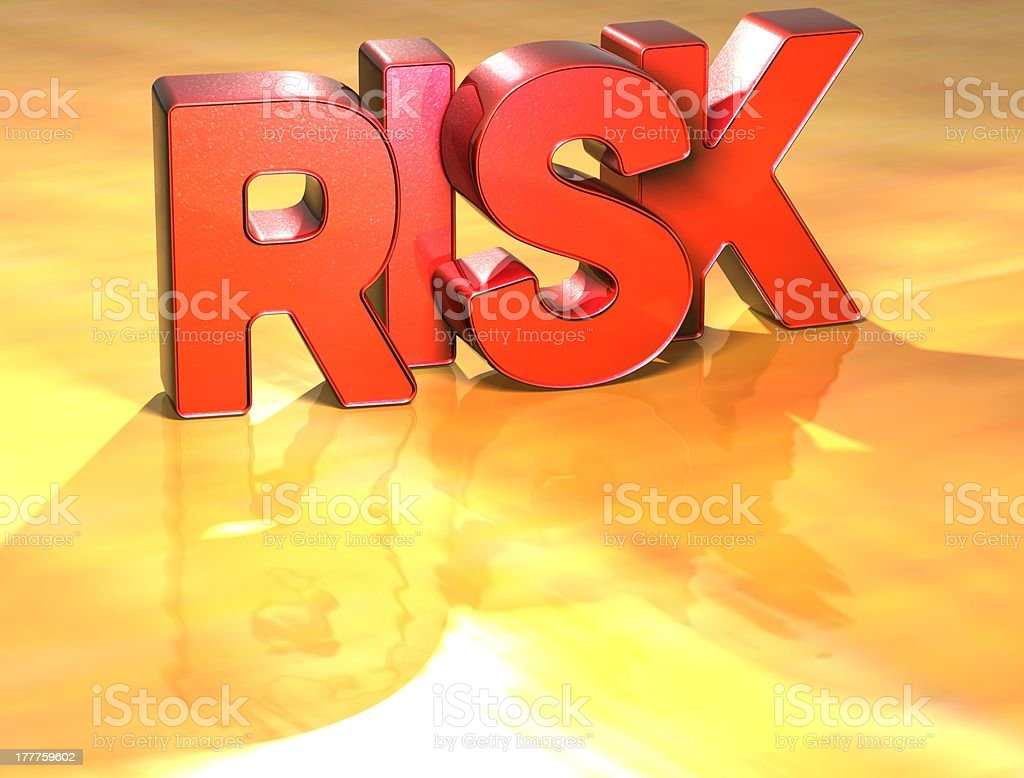 Word Risk on yellow background royalty-free stock photo
