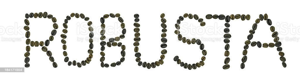 word ROBUSTA made of coffee beans royalty-free stock photo