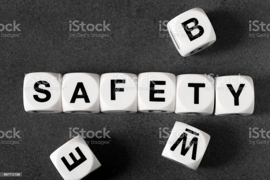 word safety on toy cubes stock photo