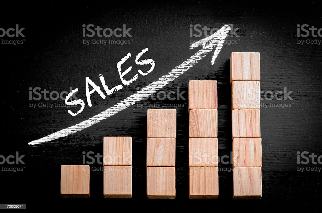 Word Sales on ascending arrow above bar graph stock photo