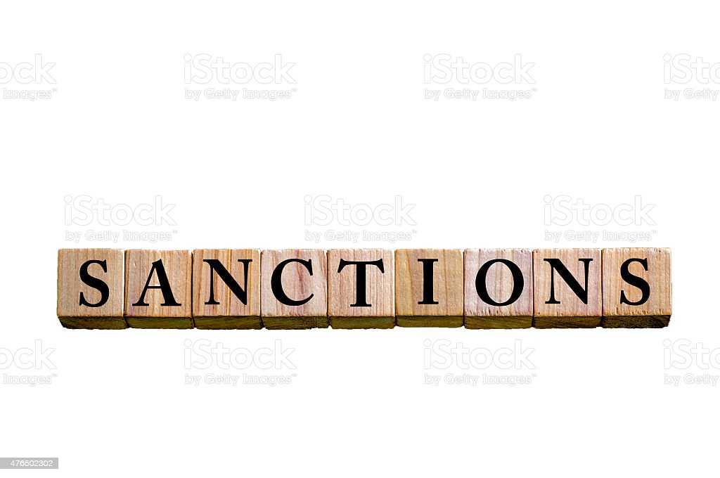 Word SANCTIONS isolated on white background stock photo