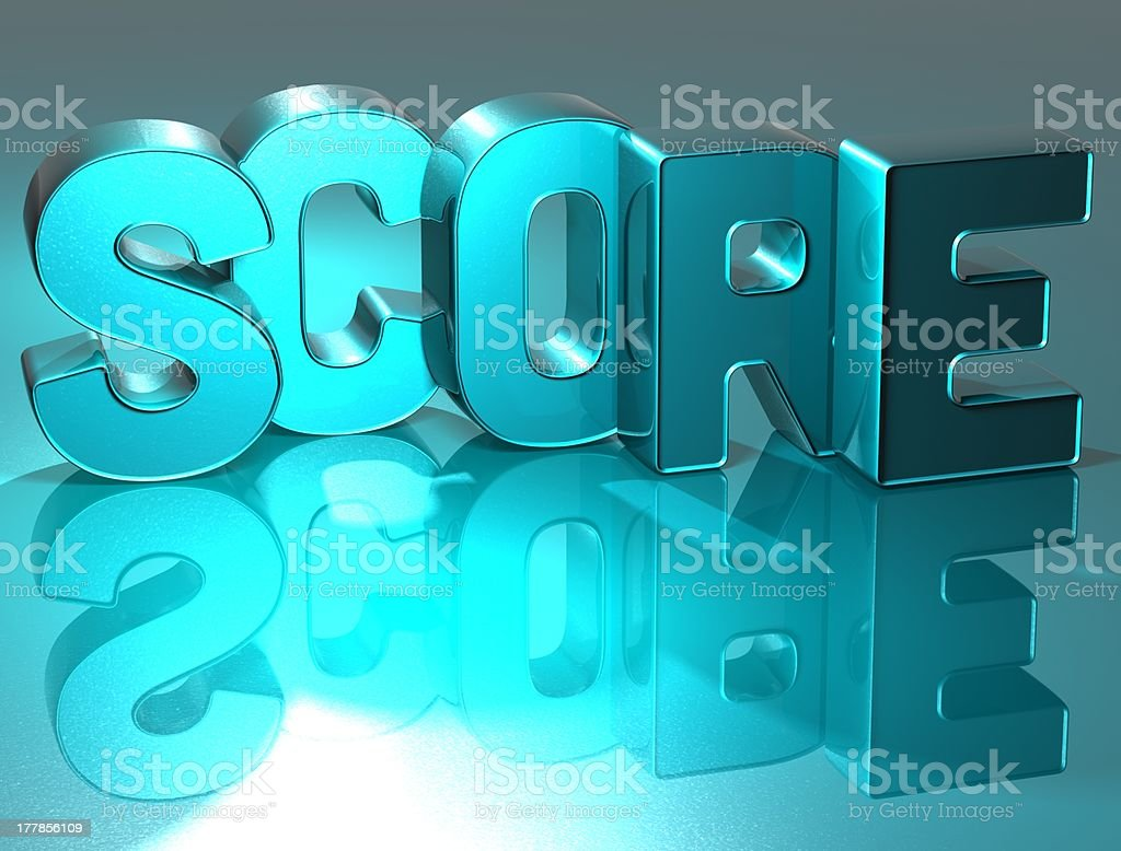 3D Word Score on blue background stock photo