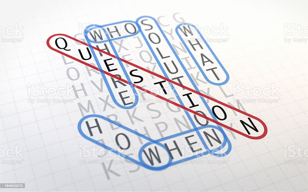 Word Search Puzzle: Question stock photo