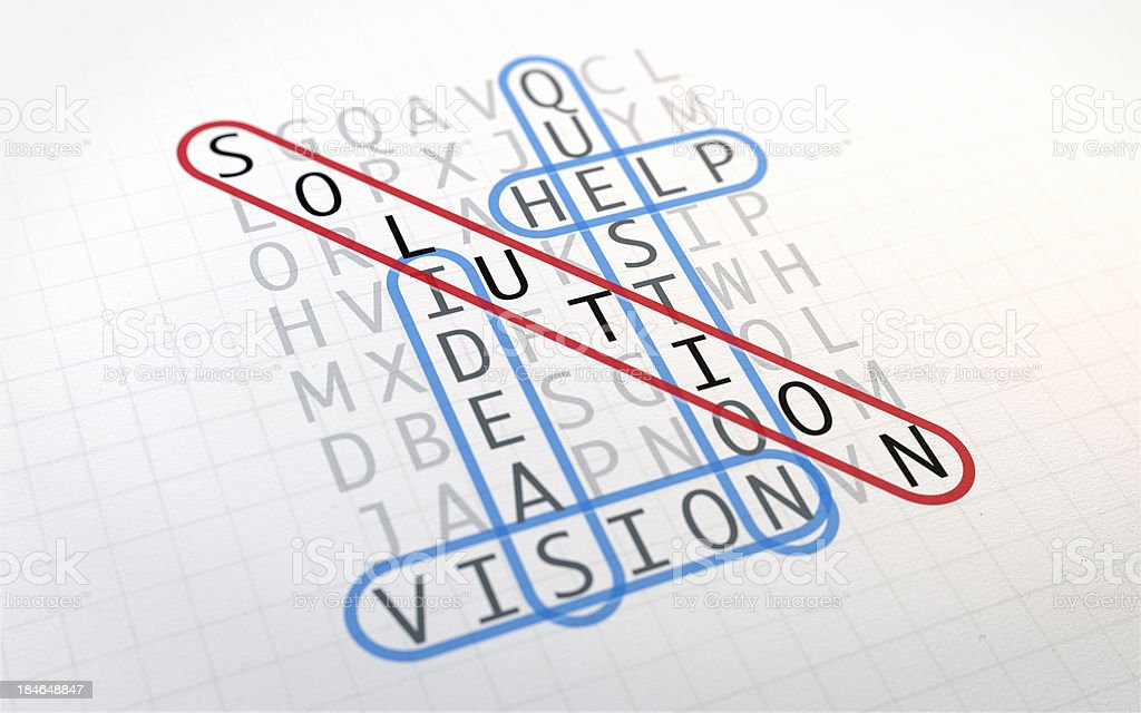 Word Search Puzzle: Solution royalty-free stock photo