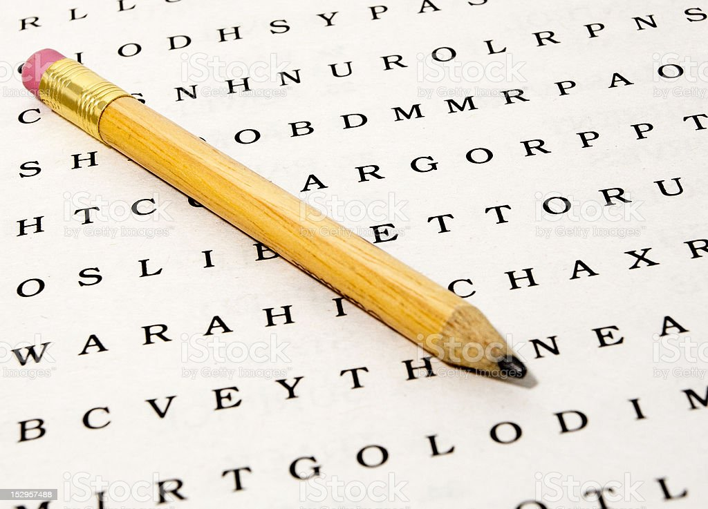 Word Search Puzzle with Pencil stock photo