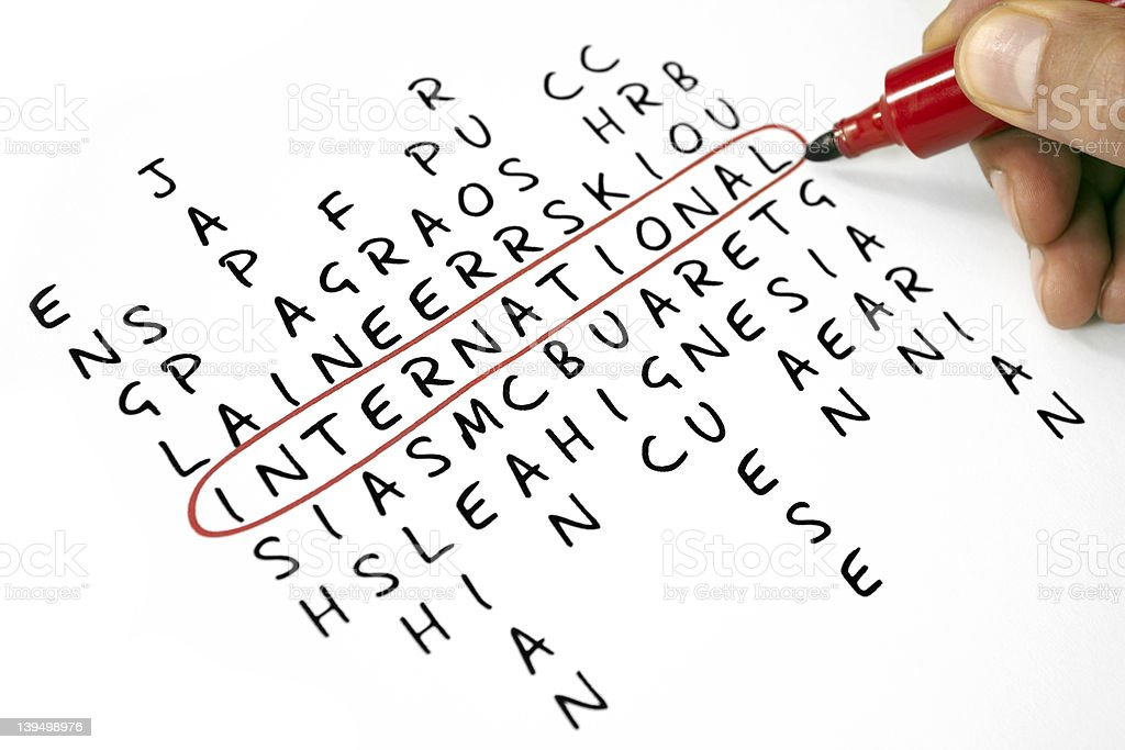 Word search with the word international circled in red royalty-free stock photo
