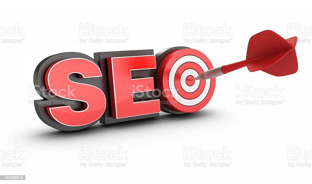 3D Word SEO with Target and Dart royalty-free stock photo