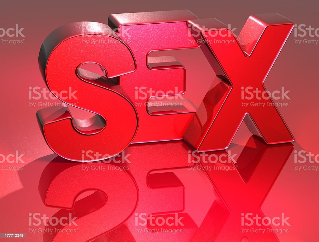 3D Word Sex on red background royalty-free stock photo