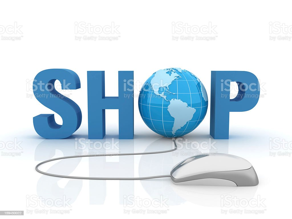 3D Word Shop with Earth Globe and Computer Mouse royalty-free stock photo