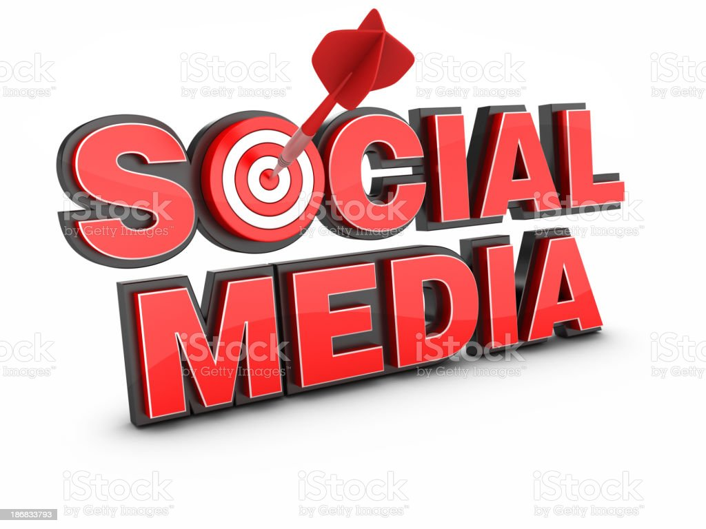 3D Word SOCIAL MEDIA With  Target and Dart royalty-free stock photo