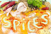 Word spices written in colorful seasoning background