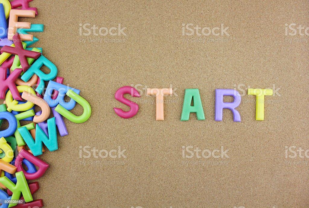"""Wort """"START"""" neben einem Haufen von anderen Buchstaben Lizenzfreies stock-foto"""