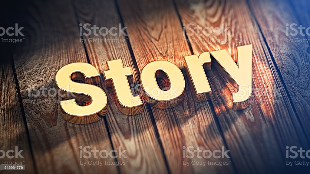 Word Story on wood planks stock photo