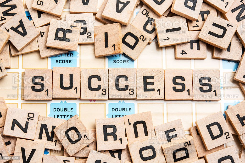 Word SUCCESS in Scrabble Letters stock photo