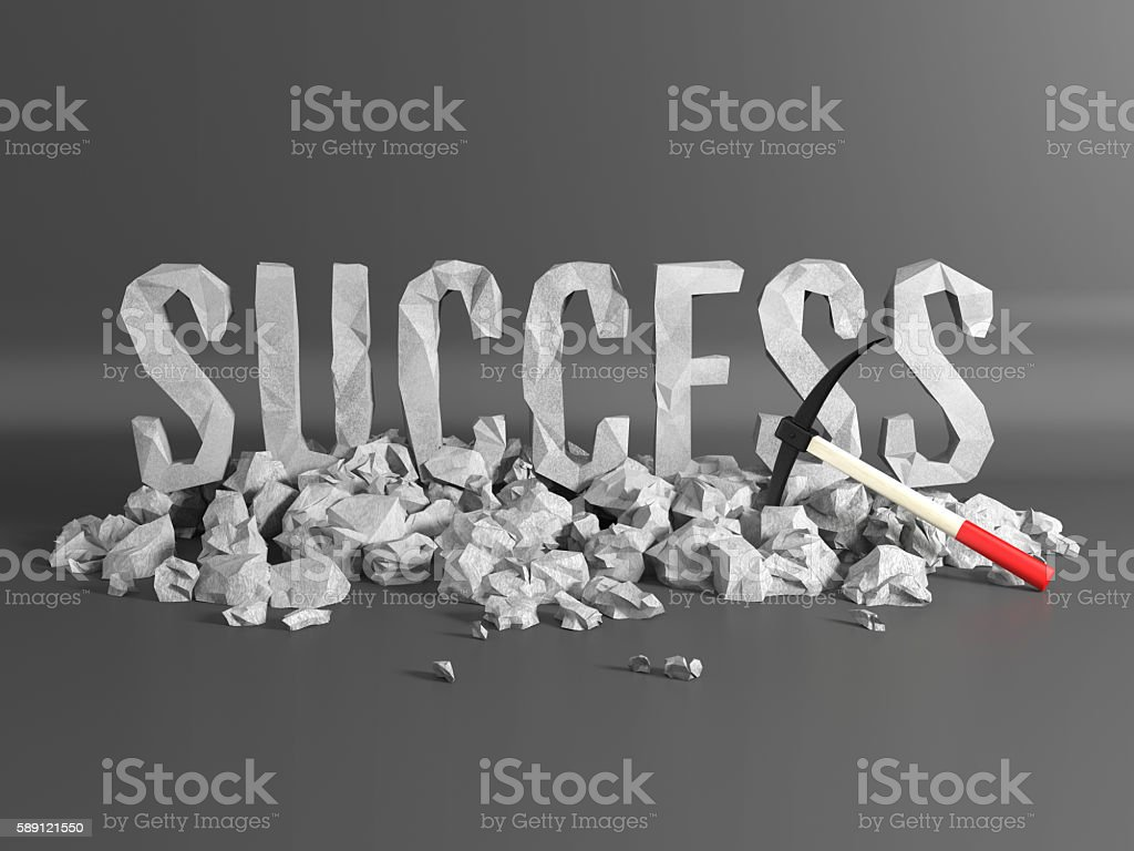 Word success made from stone stock photo