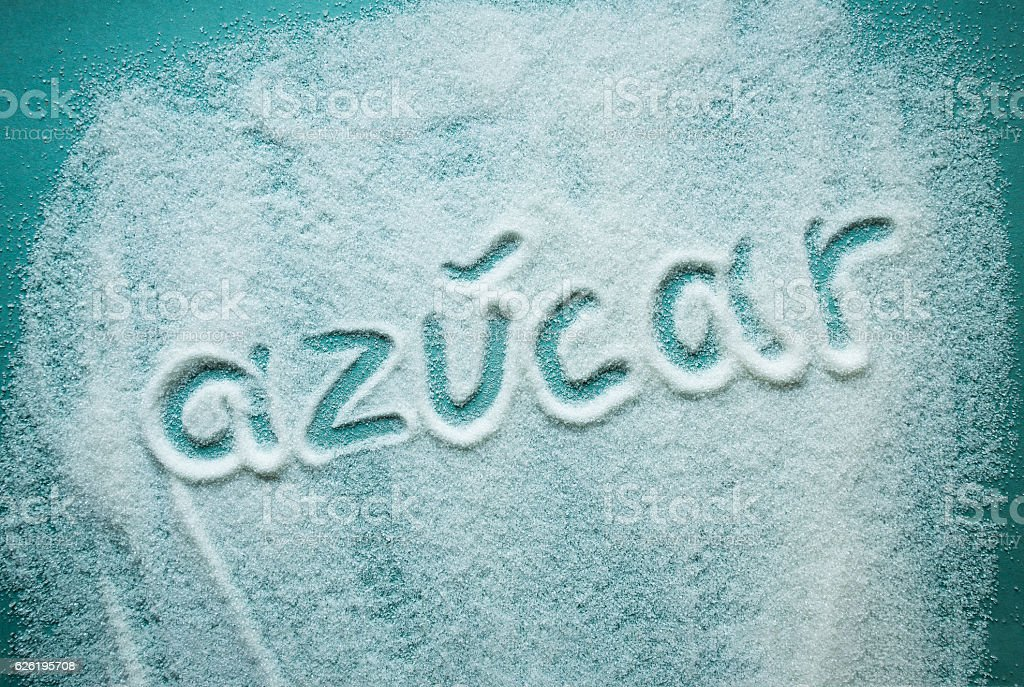 word sugar written in Spanish stock photo