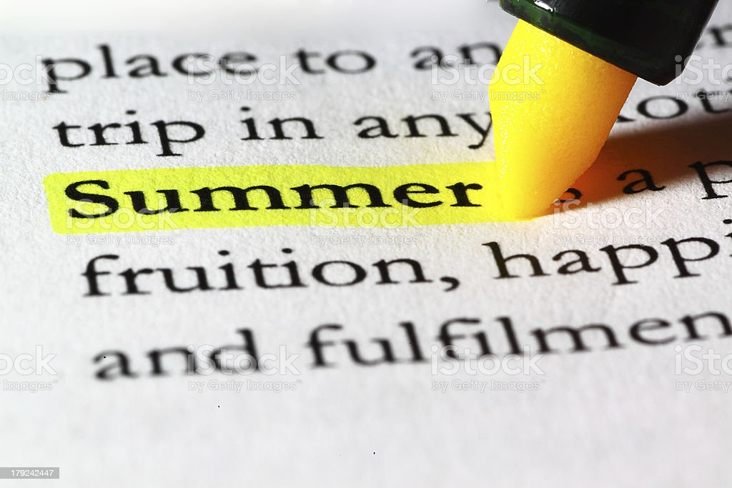 Word summer highlighted with a yellow marker royalty-free stock photo