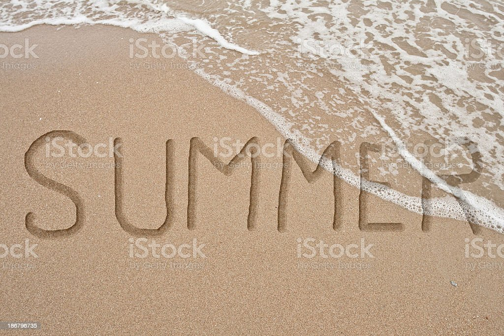 word summer on sand Hand royalty-free stock photo