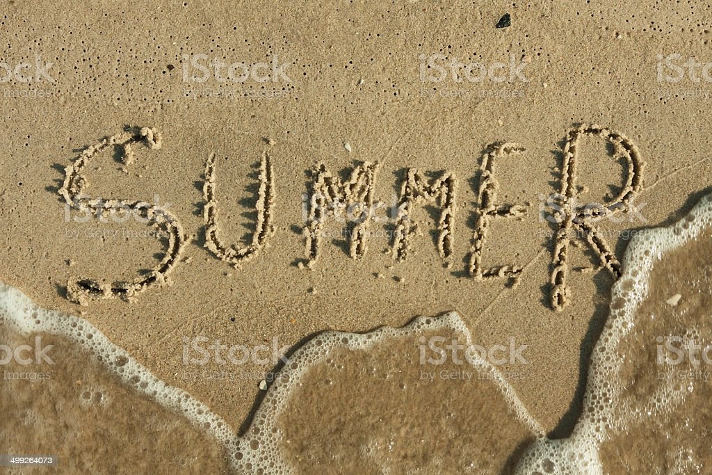Word summer written by in the sand stock photo
