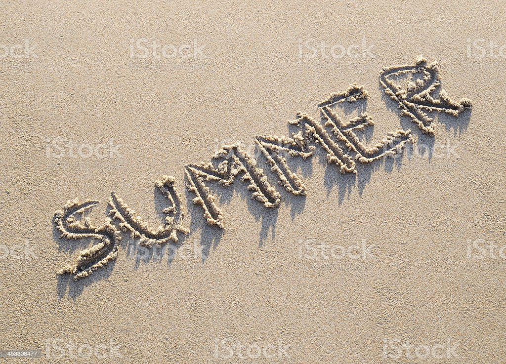 Word summer written in the sand royalty-free stock photo