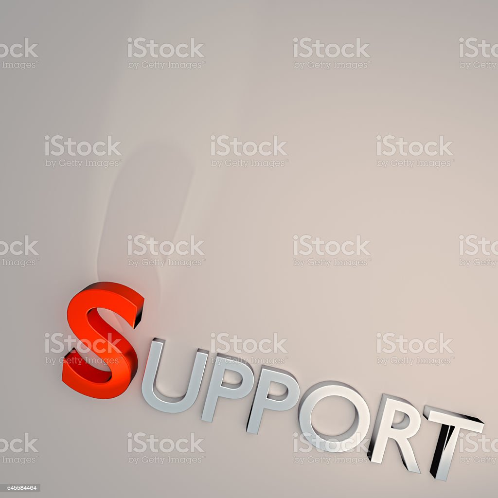 Word SUPPORT Isolated on gray background stock photo