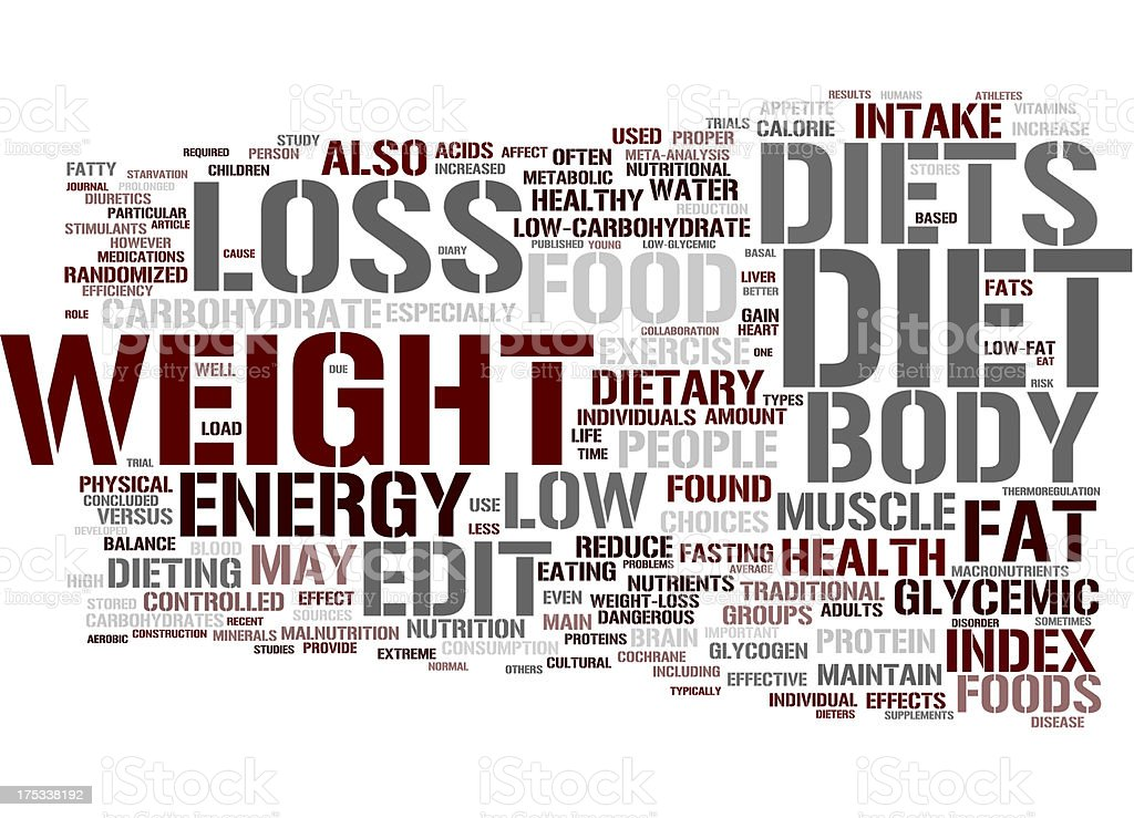 Word tag cloud with weight and diet theme stock photo