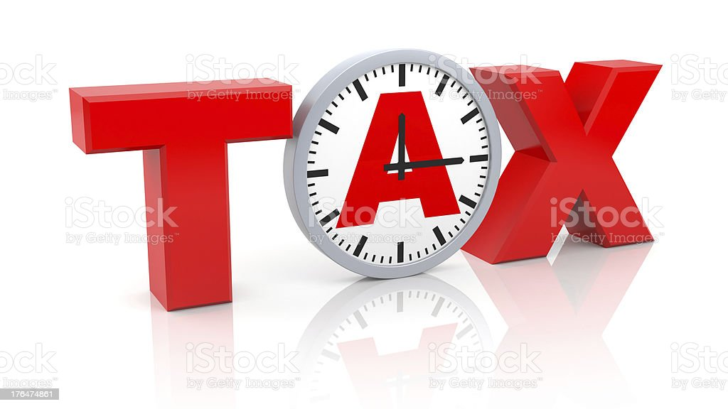 Word tax with watch stock photo