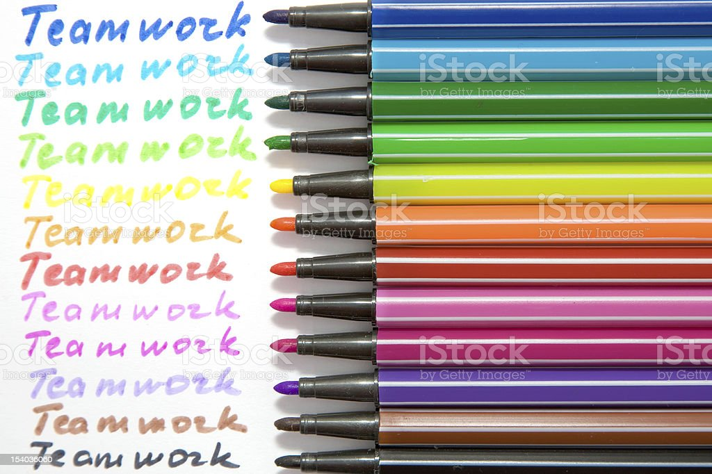 word 'teamwork', written by different colors royalty-free stock photo