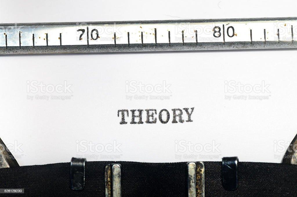 word theory typed on  typewriter stock photo