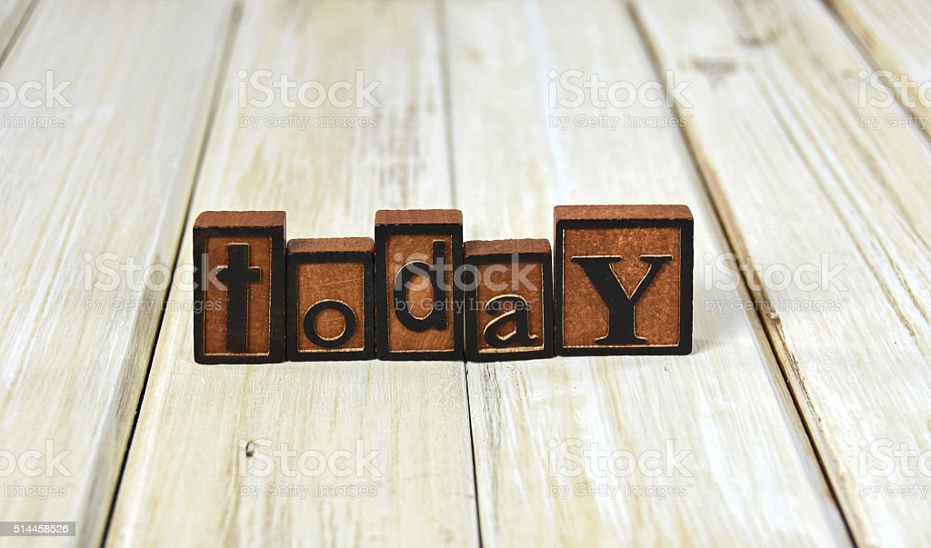 word today in letterpress type stock photo