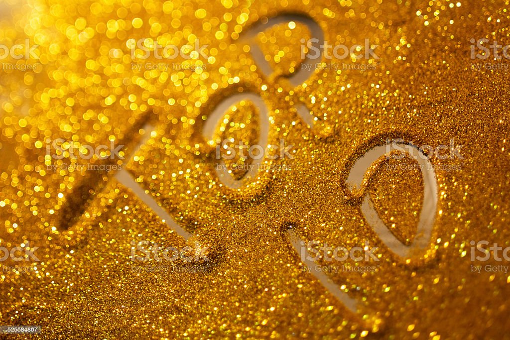 word top 10  writing on golden sand background stock photo