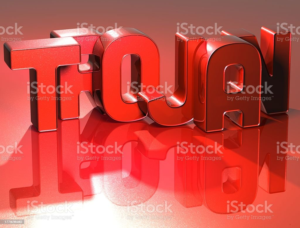 3D Word Trojan on red background royalty-free stock photo