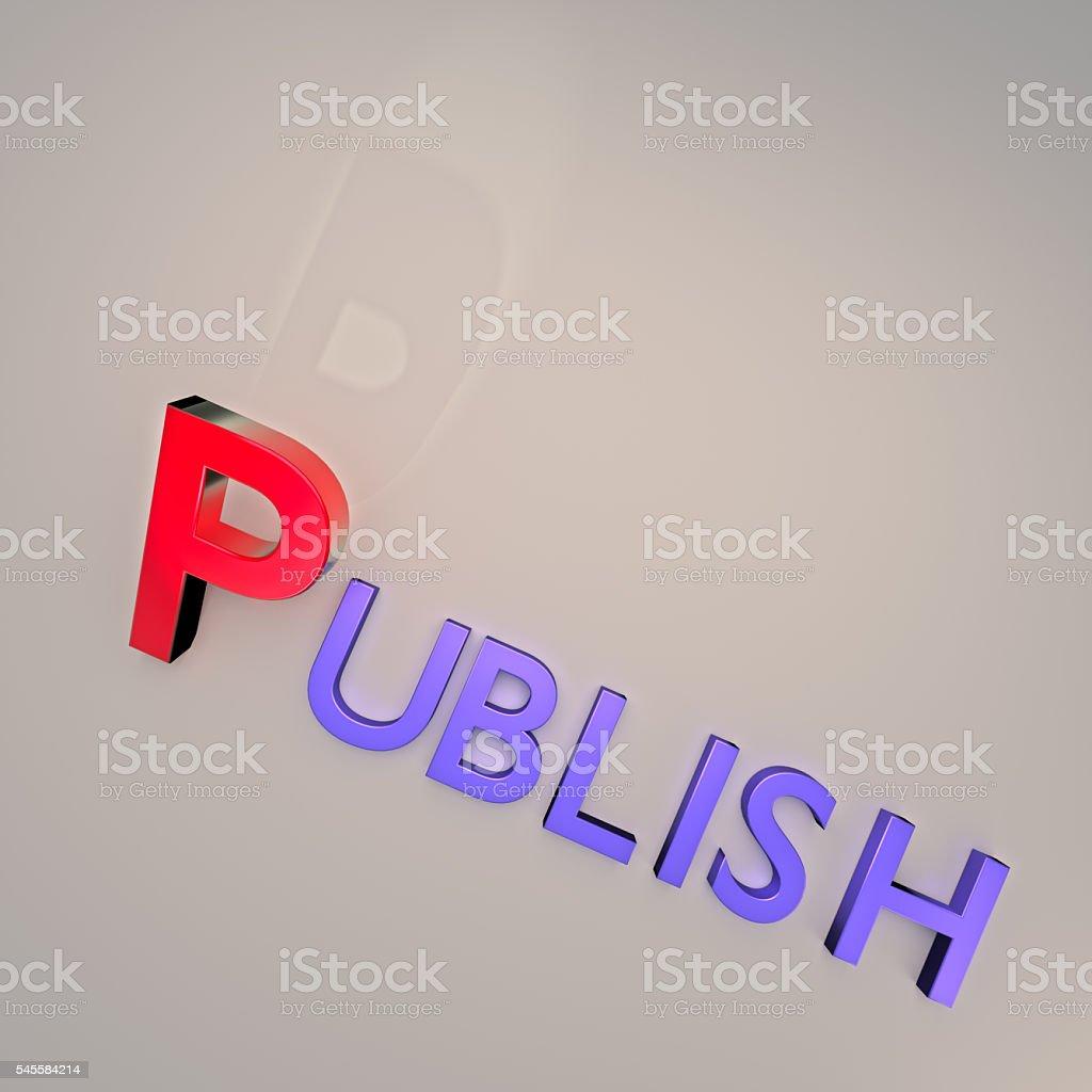 Word [UBLISH Isolated on gray background stock photo