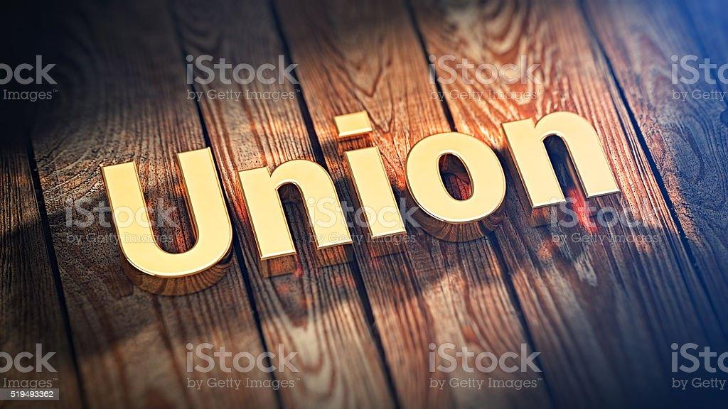 Word Union on wood planks stock photo