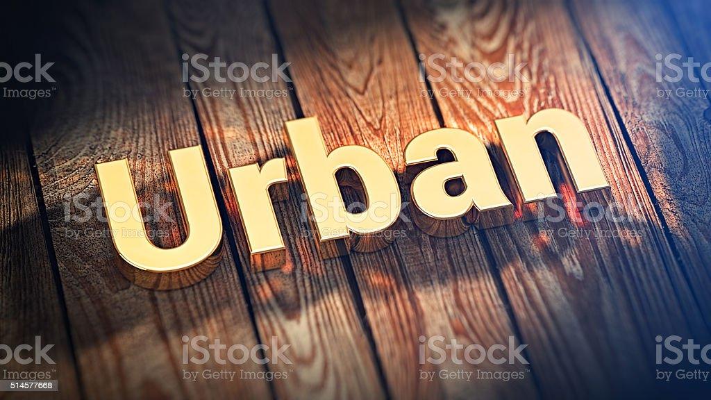 Word Urban on wood planks stock photo
