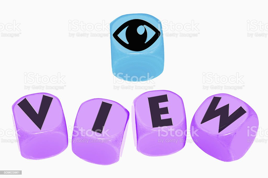 word VIEW on cubes stock photo