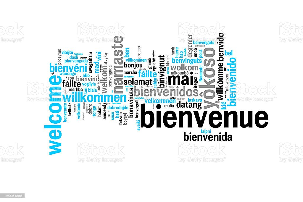 Word Welcome translated in many languages, multilingual word cloud stock photo